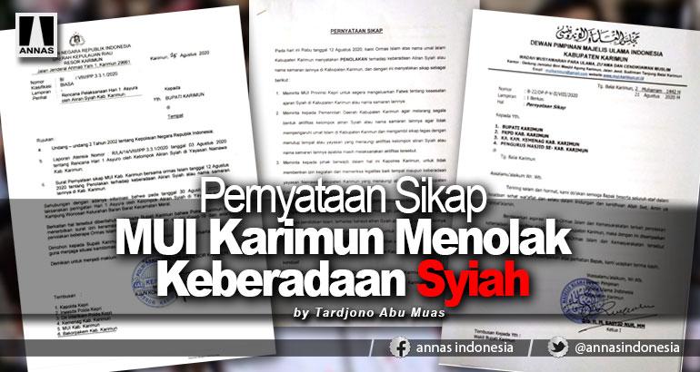 Pernyataan Sikap MUI Karimun Menolak Keberadaan Syiah