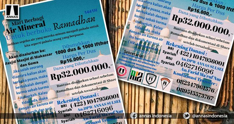 Ramadhan, ANNAS Wilayah Sulsel Ajak Berbagi Air Mineral